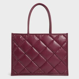 【2021 FALL 新作】ダブルハンドル キルテッドトートバッグ / Double Handle Quilted Tote Bag (Burgundy)