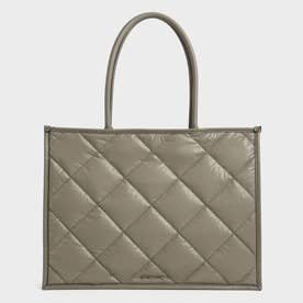 【2021 FALL 新作】ダブルハンドル キルテッドトートバッグ / Double Handle Quilted Tote Bag (Taupe)