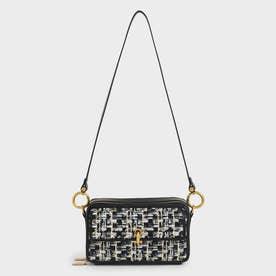 【2021 FALL 新作】ツイード ボクシークロスボディバッグ / Tweed Boxy Crossbody Bag (Navy)