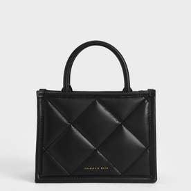 キルテッドダブルハンドル トートバッグ / Quilted Double Handle Tote Bag (Black)