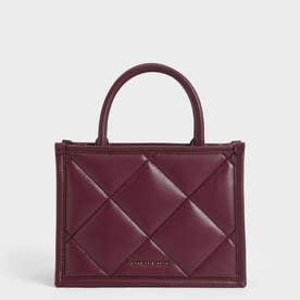 キルテッドダブルハンドル トートバッグ / Quilted Double Handle Tote Bag (Burgundy)