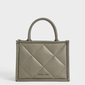 キルテッドダブルハンドル トートバッグ / Quilted Double Handle Tote Bag (Taupe)