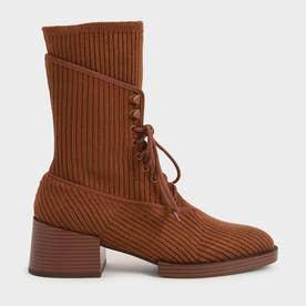 ニットレースアップ アンクルブーツ / Knitted Lace-Up Ankle Boots (Brick)