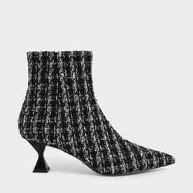 ツイードスカルプチャーヒール アンクルブーツ / Tweed Sculptural Heel Ankle Boots (Multi)