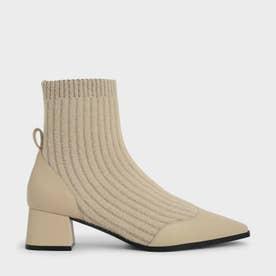 【再入荷】ニットアンクル ソックスブーツ / Knit Ankle Sock Boots (Beige)