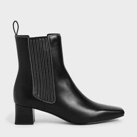 ステッチトリム アンクルブーツ / Stitch-Trim Ankle Boots (Black)
