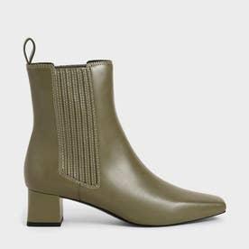 ステッチトリム アンクルブーツ / Stitch-Trim Ankle Boots (Olive)