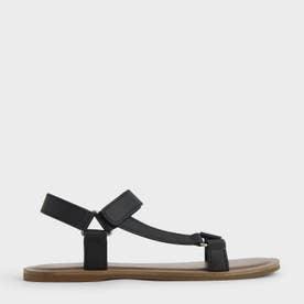 アシンメトリック フラットサンダル / Asymmetric Flat Sandals (Black)