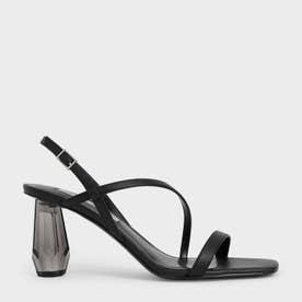 【2021 SUMMER 新作】シースルー スカルプチャーヒールサンダル / See-Through Sculptural Heel Sandals (Black)