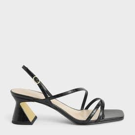【2021 SUMMER 新作】クロックエフェクト ストラッピーヒールサンダル / Croc-Effect Strappy Heeled Sandals (AnimalPr