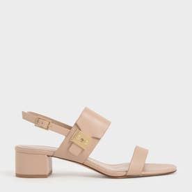 【2021 SUMMER】ブロックヒール スリングバックサンダル / Block Heel Slingback Sandals (Nude)