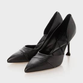 【2021 FALL 新作】レザースカルプチャーヒール ハーフドルセイパンプス / Leather Sculptural Heel Half D'Orsay Pumps
