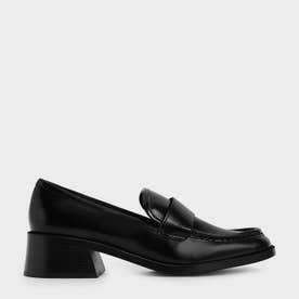 【2021 FALL 新作】ブロックヒールペニーローファー / Block Heel Penny Loafers (Black)