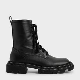 【2021 FALL 新作】レースアップ チャンキーアンクルブーツ / Lace-Up Chunky Ankle Boots (Black)