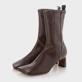 【2021 FALL 新作】ステッチトリム スリッポンカーフブーツ / Stitch-Trim Slip-On Calf Boots (DarkBrown)