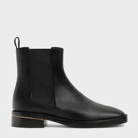 【2021 FALL 新作】チェーントリム ヒールアンクルブーツ / Chain-Trim Heel Ankle Boots (Black)
