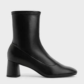【2021 FALL 新作】ステッチトリム アンクルブーツ / Stitch-Trim Ankle Boots (Black)