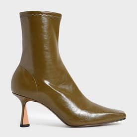 【2021 FALL 新作】スカルプチャーヒール アンクルブーツ / Sculptural Heel Ankle Boots (Olive)