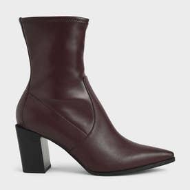 【2021 FALL 新作】スランテッドブロックヒール アンクルブーツ / Slanted Block Heel Ankle Boots (DarkBrown)