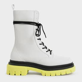 【2021 WINTER 新作】リースカラードソール コンバットブーツ / Rhys Coloured Sole Combat Boots- (Lime)