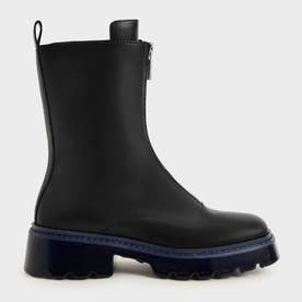 【2021 WINTER 新作】ビリー フロントジップアンクルブーツ / Billie Front-Zip Ankle Boots- (Black Textured)