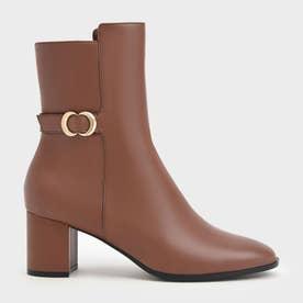 【2021 WINTER 新作】メタリックアクセント カーフブーツ / Metallic Accent Calf Boots (Cognac)