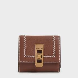 【再入荷】ステッチトリム ターンロックウォレット / Stitch Trim Turn Lock Wallet (Chocolate)