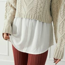 シャツレイヤード風付け裾(ホワイト)