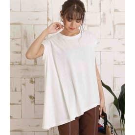 アシンメトリーカットフレンチスリーブ綿Tシャツ(ホワイト)