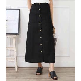 綿麻スコッチボタンフロントスリットスカート(ブラック)
