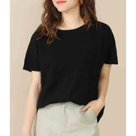 綿スラブ裾ラウンドTシャツ(ブラック)
