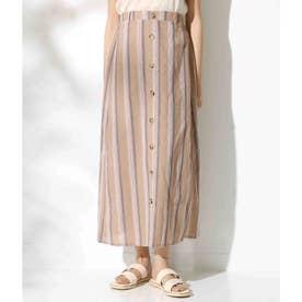 フロントボタンデザインストライプスカート(ブラウン)