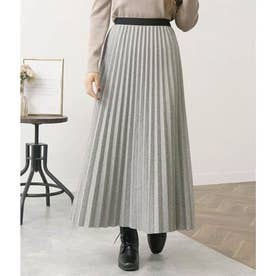 ミックスツイード風プリーツスカート(グレー)
