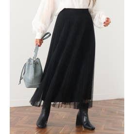 ニット×プリーツチュールリバーシブルスカート(ブラック)
