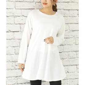 裾フレアカットソー(ホワイト)