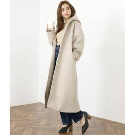 杢フェイクウールフード付ロングコート(ホワイト)