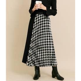 チェック×スウェードタッチ切替プリーツスカート(ブラック)
