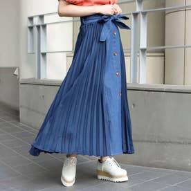 フロント釦サイドプリーツ切替スカート(インディゴ)