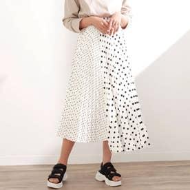 ドットプリーツ切替スカート(ホワイト)
