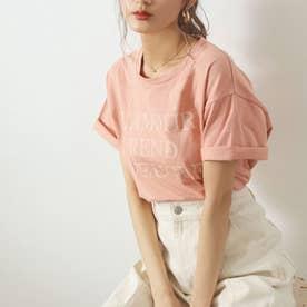 同色プリントロゴTシャツ(オレンジ)