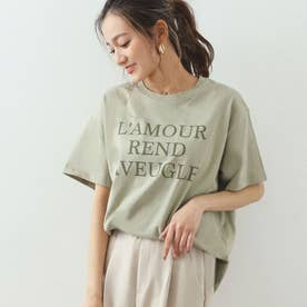 同色プリントロゴTシャツ(カーキ)