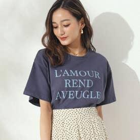 同色プリントロゴTシャツ(ネイビー)