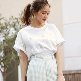 同色プリントロゴTシャツ(ホワイト)