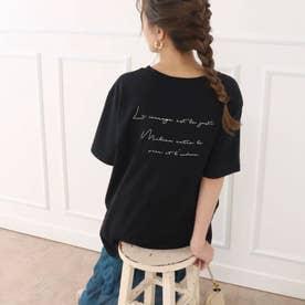 バックプリント筆記体メッセージTシャツ(ブラック)