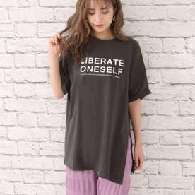 サイドスリットロゴプリントTシャツ(ダークグレー)