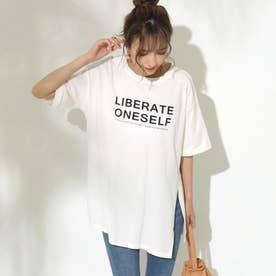 サイドスリットロゴプリントTシャツ(ホワイト)
