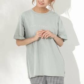 箔プリントTシャツ(ミント)