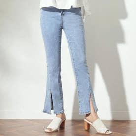 裾スリットストレッチ薄デニムパンツ(ブルー)