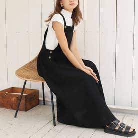 リネンライクジャンパースカート(ブラック)