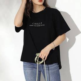 マーブル刺繍ロゴTシャツ(ブラック)